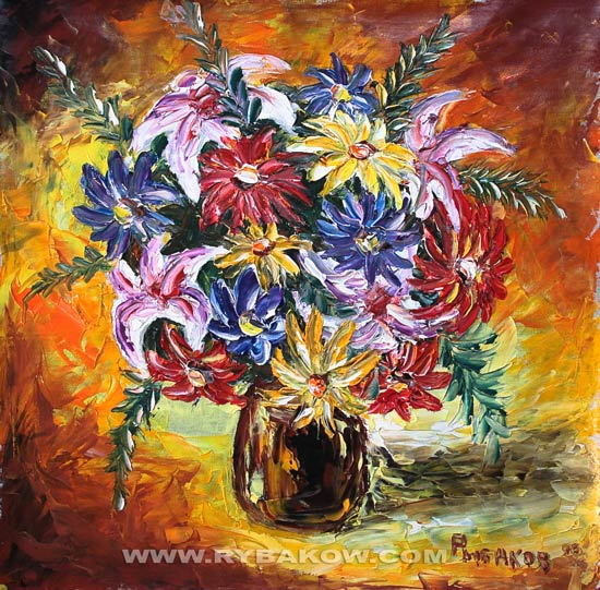 Artwork >> Valery Rybakow >> Painting: Cheerful bouquet 108. Painting flowers.