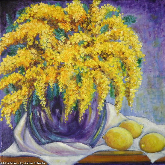 Artwork >> Andrée Schindler >> Mimosa and lemons