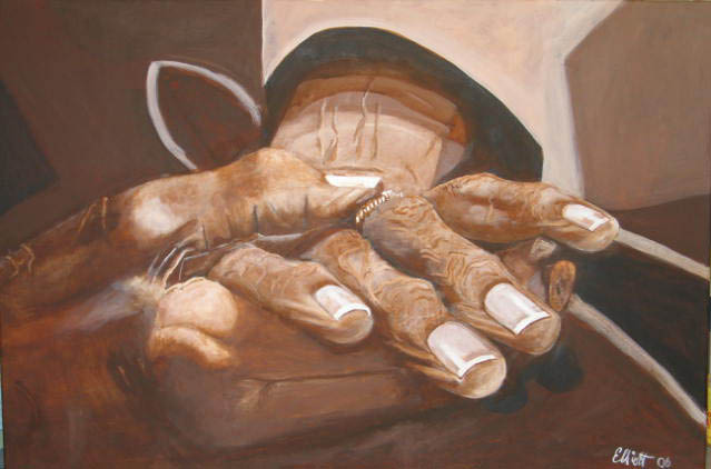Artwork >> Bernard Elliott >> Mrs. Scales Hands