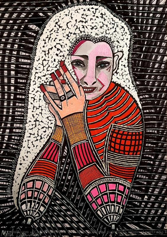 Artwork >> Mirit Ben-Nun >> Colorful paintings original portraits from israel
