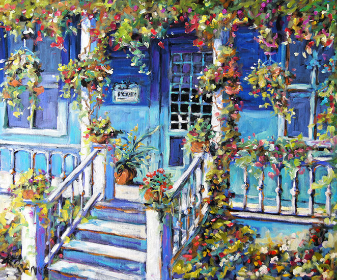 Artwork >> Richard T Pranke >> country porch and flowers