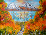 Natalya Zhdanova - autumn sunset in mountains original oil painting in handmade