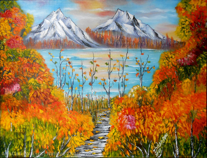 Artwork >> Natalya Zhdanova >> autumn sunset in mountains original oil painting in handmade