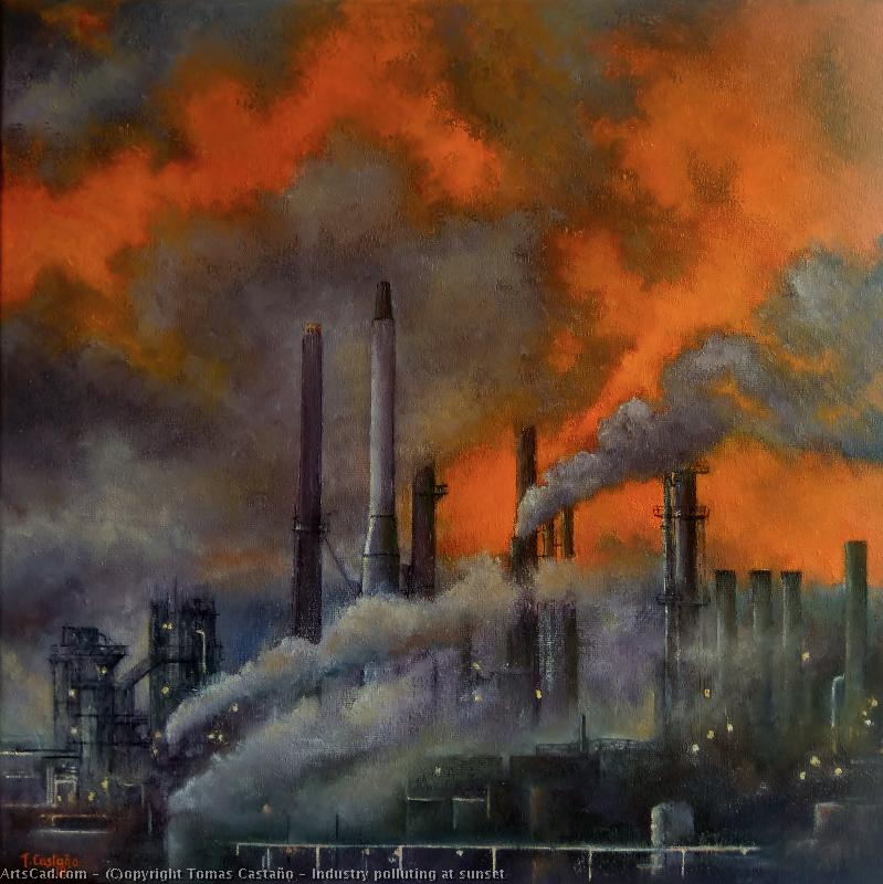 Artwork >> Tomas Castaño >> Industry polluting at has sunset