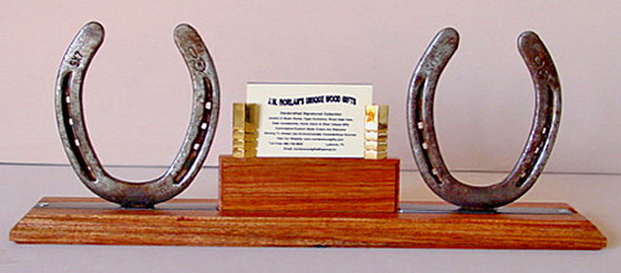 Artwork >> Johnny J W Morlan >> Tarara Colorado Wood Desktop Double Horseshoe Business Card Holder