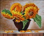 Yudin Yury - -Vase with Sunflowers-.