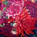 Cauchois Danielle - Fire of dahlias