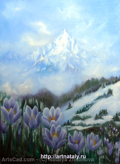Artwork >> Natalya Zhdanova >> spring flowers snowdrops original oil painting mountain landscape