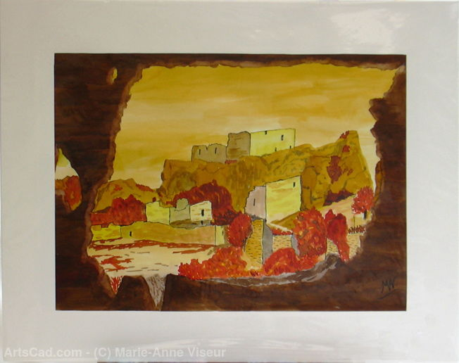 Artwork >> Marie-Anne Viseur >> Check the sun on the Baux de Provence.