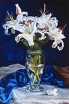 Yudin Yury - -Lily and blue silk.-