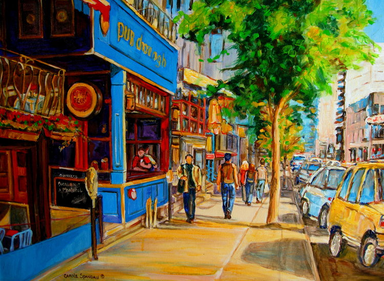 artwork carole spandau rue crescent montr al sc ne de rue irish pubs montr al en peinture. Black Bedroom Furniture Sets. Home Design Ideas