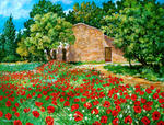 Antoine Molinero - Peintre - out the Farmhouse in Provence the Poppies in