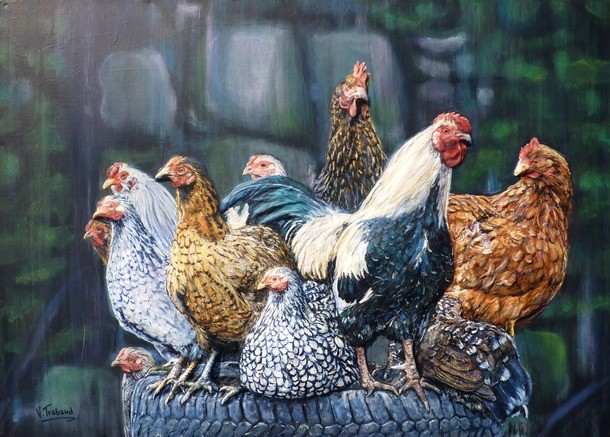 Artwork >> Trabaud Virginie >> A very lucky cock - hens and cock upon a tyre