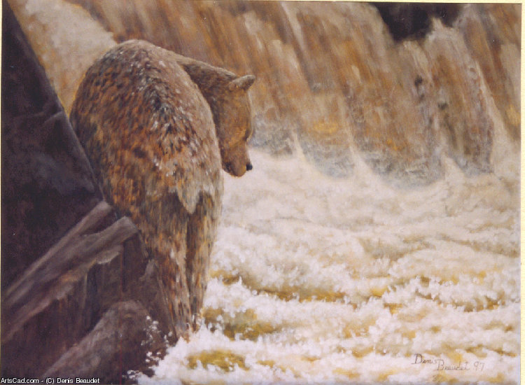 Artwork >> Denis Beaudet >> grizzly has the fishing