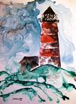 Derek Mccrea - Sapelo Island lighthouse seascape watercolor painting on yupo paper